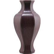"Fulper 11"" Hexagonal Vase c1922-1928 in Berry/Purple Glazes Mint F543"