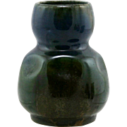 """Charles Greber 3.25"""" by 2.5"""" Miniature Pinched Vase in Blue/Green/Brown Glazes GR141"""