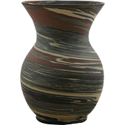"Niloak Mission Swirl 6"" Vase In Natural Brown/Blue/Terra Cotta/Mocha/Cream Swirls Mint"