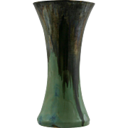 "Fulper 9.75"" Vase 1909-1916 In Green/Blue/Brown Drip Flambe Glazes Mint F148"