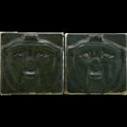"Fulper 5.5"" Lion's Face Bookends 1922-1928 Shape No. 49A In Green Matte Glazes Mint F171"