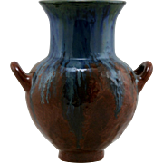 "Fulper 8"" Vase 1922-1928 In Blue Over Rust Flambe Glazes Mint F161"