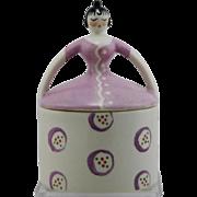 "Fulper Porcelain 6.75"" Art Deco Novelty Lady Powderbox/Candyjar/Buttonbox Mint F661"