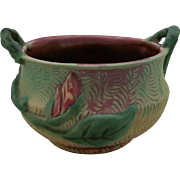 "Weller Malverne 4.5"" x 7"" Handled Urn In Unusual Red/Yellow/Green Glazes Mint"