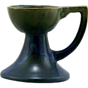 "Fulper 4.5"" x 5.25"" Handled Candlestick in Blue and Green Glazes Factory Mint F65"
