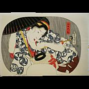 Utagawa Kuniyoshi (1797-1861) 'Beauty in Heavy Rain' Japanese Woodblock 'Fan' Print, c1920