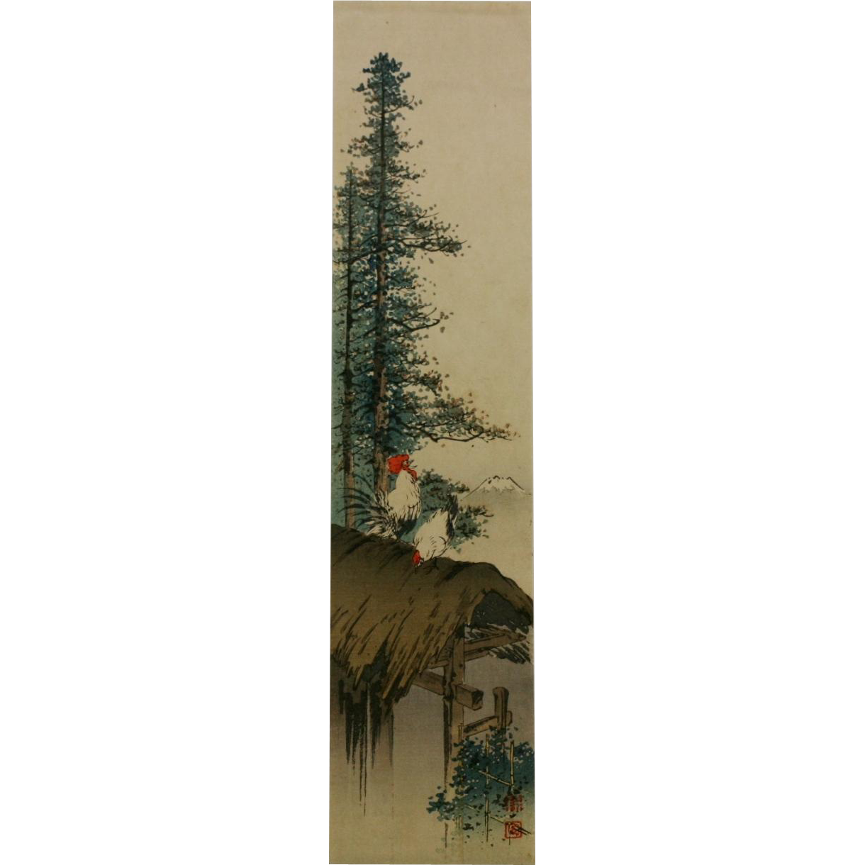 """Koho Shoda (1871-1946), Japanese Woodblock 'Chickens on Roof and Mount Fuji' 13.25"""" x 3.25"""" Pillar Print - Red Tag Sale Item"""