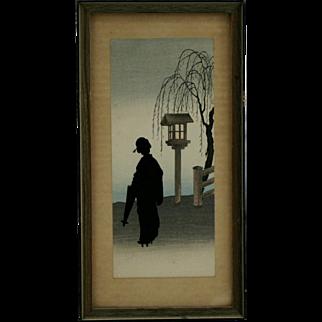 Koho Shoda (1871-1946) 'Courtesan with Umbrella by a Bird House' Silhouette Original Japanese Woodblock Print by Publisher Nishinomiya c1910