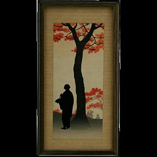 Koho Shoda (1871-1946) 'Sketching Under Red Leaves' Silhouette Original Japanese Woodblock Print by Publisher Nishinomiya c1910