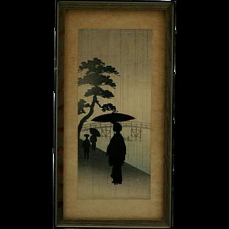 Koho Shoda (1871-1946) 'Courtesan Under Umbrella on a Rainy Evening' Silhouette Original Japanese Woodblock Print by Publisher Nishinomiya c1910
