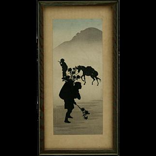 Koho Shoda (1871-1946) 'Nighttime Travelers' Silhouette Original Japanese Woodblock Print by Publisher Nishinomiya c1910