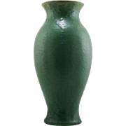 "Fulper 13.5"" Classic Vase 1922-1928 No.536 Thick Matte Green Glazes Factory Mint F184"