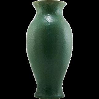 "Fulper 13.5"" Classic Vase 1922-1928 No.536 Thick Matte Green Glazes Factory Mint F184"
