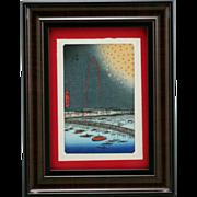 Utagawa Hiroshige (Japanese, 1797-1858) 'Fireworks at Ryōgoku Bridge' Framed Japanese Woodblock Print