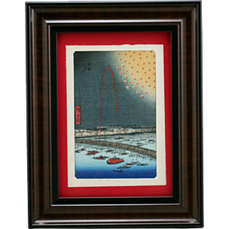 Utagawa Hiroshige (Japanese, 1797-1858) 'Fireworks at Ryōgoku Bridge' Framed Japanese Woodblock Print