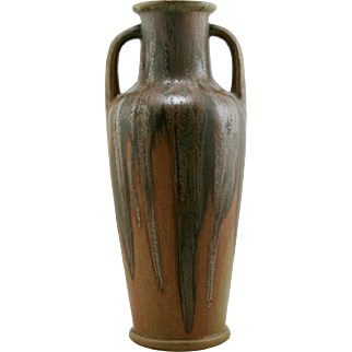 "Denbac French Pottery Vase 14""In Green Over Golden Ochre Drip Glazes Mint D91"