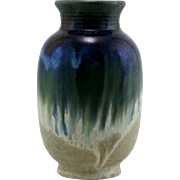 """Fulper 9"""" Vase c1909-1917 in Luscious Blue/Oatmeal Drip Glazes F51"""