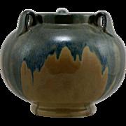 "Fulper 7"" x 8"" 3-Handled Urn in Lush Brown/Blue & Peach Frothy Glazes c1929-1934 Factory Mint F38"