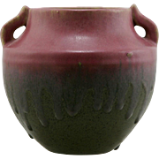 "Fulper 6.25"" Asian-Inspired Urn/Vase In Rose Over Brown Matte Drip Glazes c1917-1923 F303"