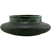 "Fulper 3.5"" x 10"" Squat Urn/Vase In Blue/Green Flambe/Green Matte Glazes Mint F105"