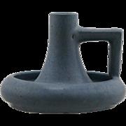 """Prang 3.5"""" x 5"""" Handled Candlestem In Lavender/Blue Speckled Glaze d1913-1917 Mint F64"""