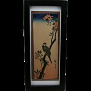 Utagawa Hiroshige (1797-1858) Bird and Cherry Blossoms, Japanese Woodblock Print  c1930 Pillar Print