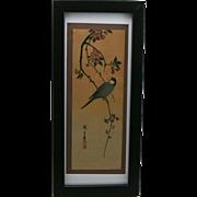 Utagawa Hiroshige (1797-1858) Paddy Bird on Crab Apple Branch, Japanese Woodblock Print c1930 Pillar Print