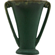 "Fulper 8"" Pillow Vase in Matte Green/Frothy Spotty Glazes d1917-1934 Mint F122"