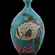 "Anne Webb Raku-Fired Aquarium Fish Vase 8"" Magnolia Springs, Alabama Mint C131"