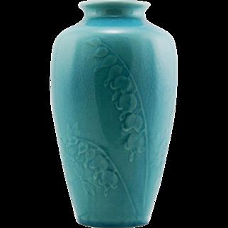 "Rookwood Original 11"" Lamp Base 1946 With Bleeding Heart Blossoms In Aqua Glaze Kataro Shirayamadani Design R230"
