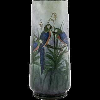 "Bernardaud & Co. (B&Co.) Limoges 14"" Vase With Parrots & Birds in Lush Foliage Mint"
