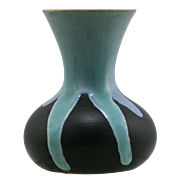 "Weller Pottery 5"" Trial Vase in Blue/Aqua Over Black Drip Glaze Mint W350"
