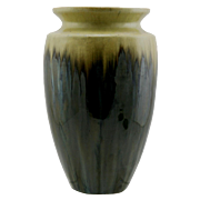 "Fulper 10"" Vase in Drip Glazes Yellow Over Brown/Blue Oil-Spotted Flambe Glazes Mint F218"