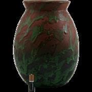 "Weller Greora 10"" Vase In Leathery Glaze In Brown/Coppertone Green Mint"