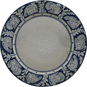 "Dedham Pottery 10"" Turkey Plate By Maude Davenport In Blue/White Crackled Glaze 1896-1943"
