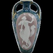 "Heubach German Porcelain Pâte-Sur-Pâte 7"" Vase with Nude Gazing into a Mirror with Floral Border Mint"
