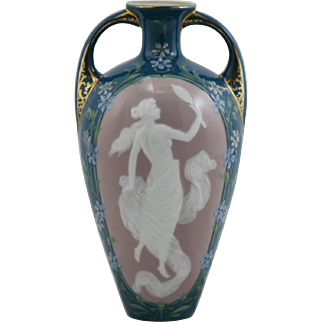 "Heubach German Porcelain Pâte-Sur-Pâte 7"" Vase with Nude Gazing into a Mirror with Floral Border Mint"