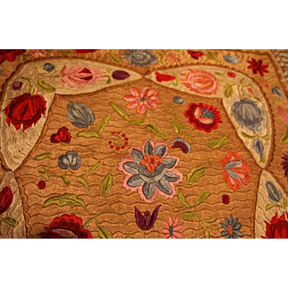 Vintage Matyo Hungarian Linen Embroidered Table Cover Superb Design & Color