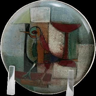 "Polia Pillin 2.75"" x 5.5"" Round Lidded Box W/A Bird In A Rainbow Of Glazes Mid-Century Modern"
