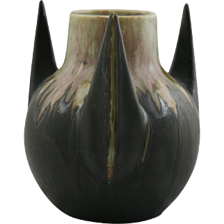 "Metenier French 3-Horned 9"" Vessel In Rich Chocolate Drip Glaze c1920 FR68"