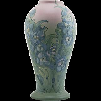 "Weller Hudson 12.25"" Vase With Gladiola-Like Blossoms Decorated By Mr. Claude Leffler"