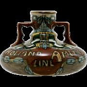 """Holland America Line 3.5"""" x 5"""" Urn/Vase c1905 By Jan Willem Mijnlieff  Utrecht Holland Mint"""