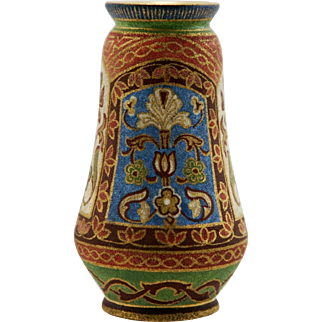 "Royal Bonn Germany Tapestry Pattern Brocade Design Art Nouveau 6"" Vase c1890-1920 Mint"