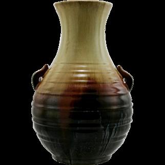 "Fulper 12.5"" Asian-Inspired Vase in Flowing Buttercream To Mahogany To Mirror Black Glazes"