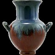 "Fulper 8"" Vase 1909-1917 In Blue Over Mahogany Rust Flambe Glazes"