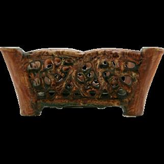 "Weller Woodcraft/Flemish 4"" x 9"" Tree Stump & Reticulated Branch Center Console Bowl Mint"
