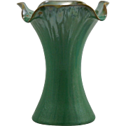"""Fulper 7.5"""" Vase 1909-1917 In Green Drip With Amber Touches Crystalline Flambe Glazes Platinum Sheen Mint"""