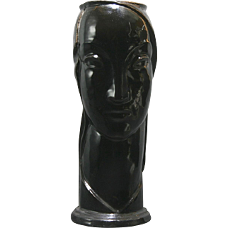"American Encaustic Tile Co. AETCO Art Deco 12"" Lady Head Vase in Black Glossy Glaze AE133"