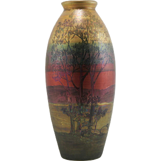 "Weller Lasa 12.5"" Vase With Lake Scene/Landscape Of Trees by John Lessel in Lush Iridized Glazes Mint"