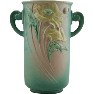 "Roseville Poppy 12.5"" Vase Flowing Poppies In Stunning Green/Yellow Glaze 877-12 Factory Mint"